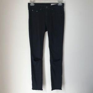 Rag & Bone Black Distress Legging Jeans